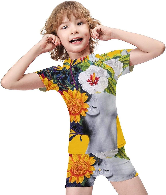 Yiaoflying Kids Boys 2 Piece Swim Set - Flower GirlRash Guard Swimsuit Trunks