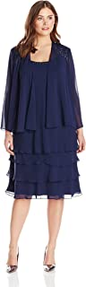 S.L. Fashions Women's Plus Size Embellished Tiered Jacket Dress