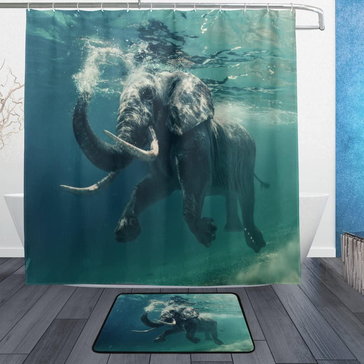 Limited time trial price ALAZA African Ocean Elephant Curtain Polyester Waterproof Shower Dedication