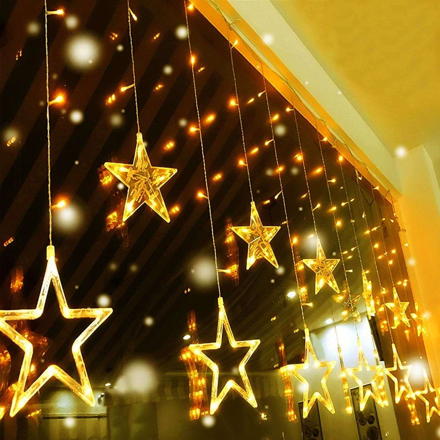 Quntis LED Max 45% OFF 12 Stars Curtain Lights Window Christmas - LEDs specialty shop 138 I