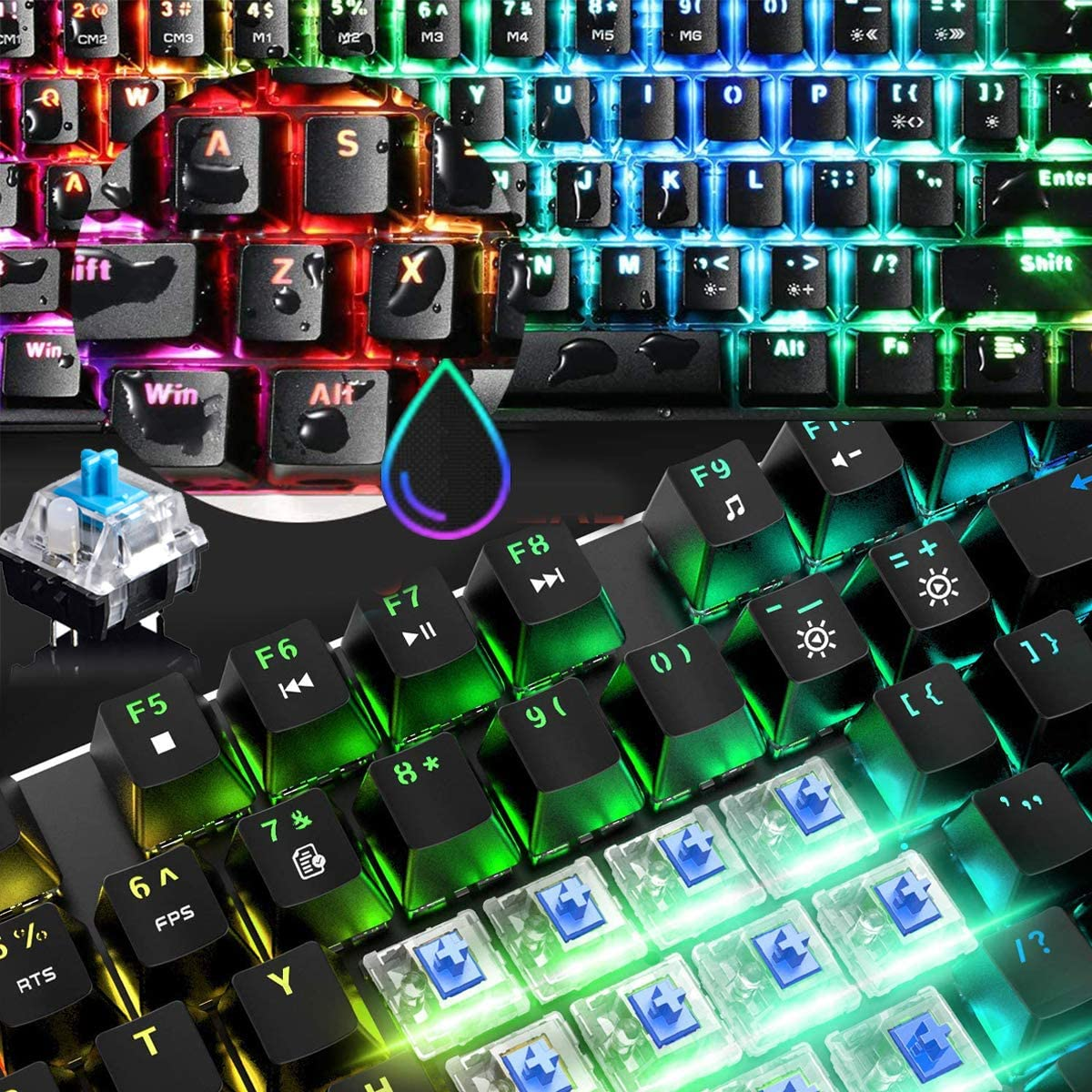 60% Mechanical Gaming Keyboard Mini 68 Keys Anti-Ghosting Wired Type C Chroma RGB 18 Backlit Effects,Lightweight Gaming Mosue 6400DPI Honeycomb Optical,108 PBT Pudding Keycaps for PC Gamers(Black)
