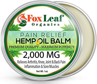 Premium Hemp Balm for Pain Relief - 2000MG - All Natural Hemp Extract for Arthritis, Sore Muscles, Joint & Back Pain Relief - Anti-Inflammatory - Made in USA - Non-GMO - Extra Strength Formula