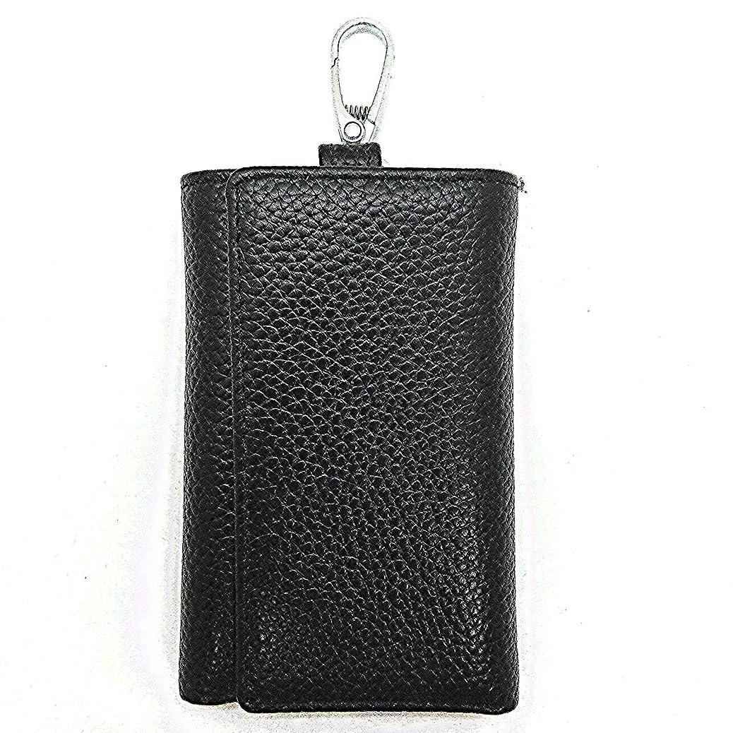 小数仲間構造的Celeark キーケース メンズ 牛革 (本革 75×110mm) 財布付きキーケース (お札?カード?小銭入れ) 三つ折り式 6連 鍵