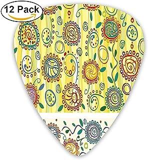 Flor Floral Diseño oriental con círculos Puntos Hojas Ilustraciones abstractas Guitarra Selecciones 12 / Paquete