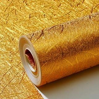 拉丝金箔墙纸 环保 无异味 防水防潮 用于宾馆、酒店背景墙、天花板反光、ktv酒吧 0.53m*10m 金色粗拉丝