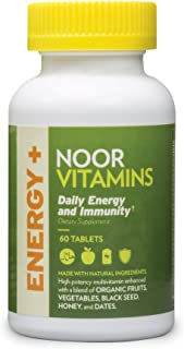 NoorVitamins Energy+ Multivitamin; Energy Vitamin for Natural Energy Production & Immunity w/ 26 Vitamins & Minerals + Org...