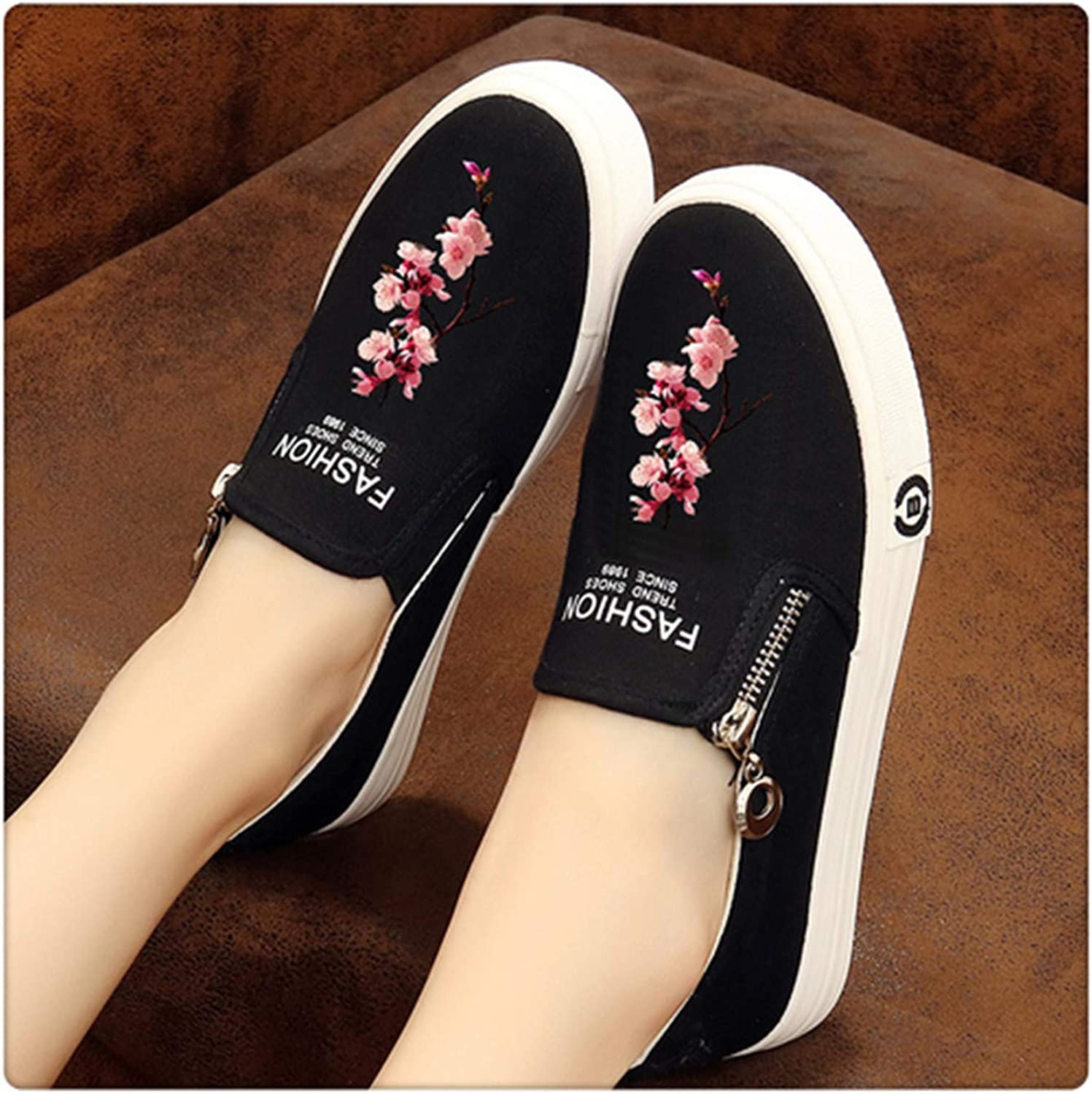 HAHUTG& Slip on Women's Platform shoes Summer 2019 Thick Heel Loafers Floral Canvas shoes Women Espadrilles White Black HEI taohua 4