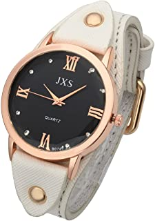 Top Plaza Men's Women's Fashion Simple Rose Gold Tone Wrist Watch Roman Numerals PU Leather Strap Analog Quartz Dress Watch