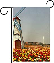Tuinvlag, Nederlandse windmolen en tulpen, Seizoensgebonden Outdoor Vlaggen 28 x 40 Dubbelzijdige Home Yard Decoratieve
