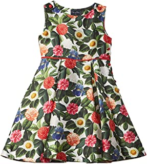 Childrenswear Womens Mikado Flower Jungle Button Dress with Pleats (Toddler/Little Kids/Big Kids)