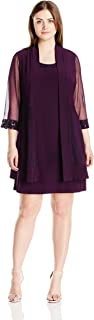 Women's Plus-Size Two-Piece Mesh-Panel Jacket and Dress