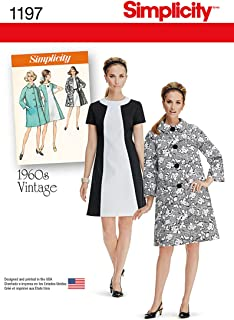 Simplicity 1197 1960's Fashion Women's Vintage Dress and Coat Sewing Pattern, Sizes 6-14