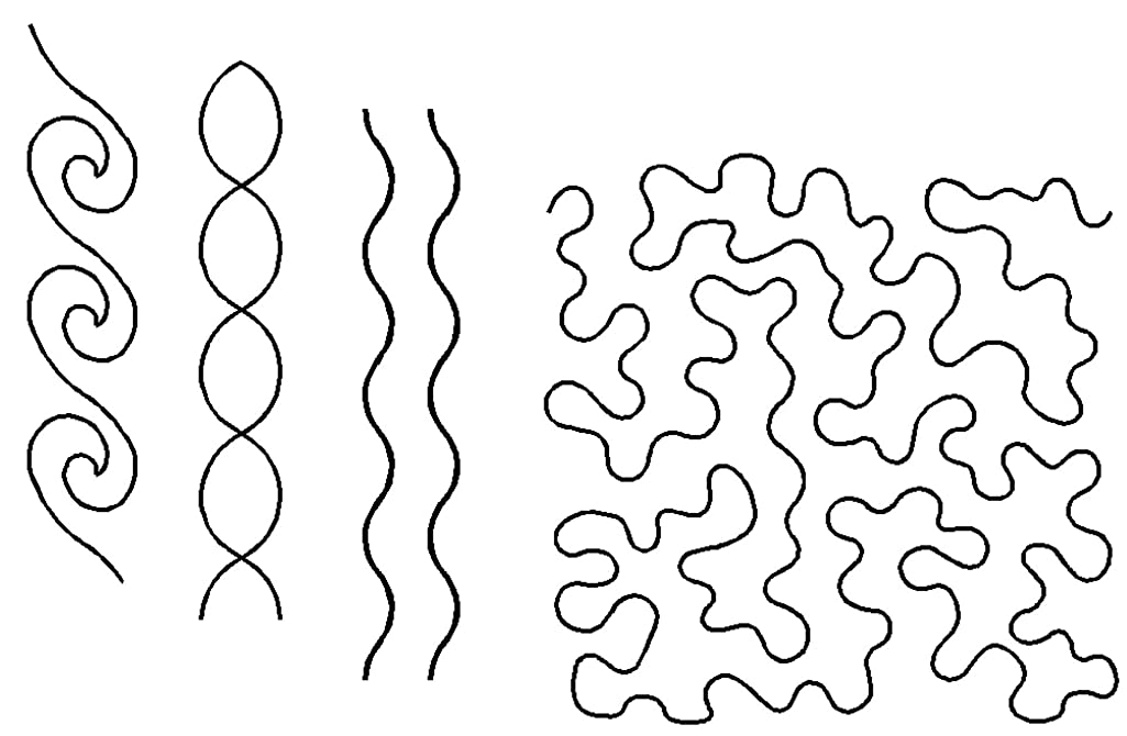 Quilting Creations Stencils for Machine and Hand Quilting | Set of 4 Quilt Plastic Stencils for Borders, Background, Patterns | Wave Border, Simple Cable, Wavy Border, Large Stipple
