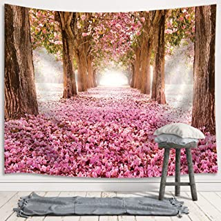 JAWO Pink Sakura Flower Tapestry Wall Hanging, Floral Cherry Blossom Tree in Spring Tapestries for Dorm Living Room Bedroom, Wall Blanket Beach Towels Home Decor 71X60 Inches