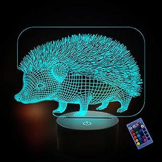 Illusion Optique 3D Hérisson Nuit Lampe 16 Couleurs Changeantes Puissance USB Télécommande Contact Switch Lampe Décorative...