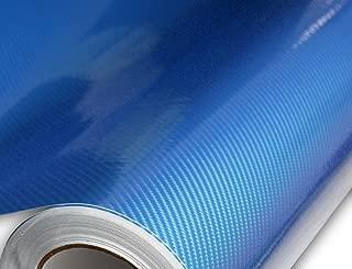 Hachi Auto 6D Ultra High Gloss Blue Carbon Fiber Vinyl Car Wrap 12-by-60 inch