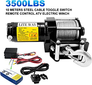 12V Electric Winch 3500lbs/1591kg for UTV ATV Boat with Handheld Remote and Corded Control,Steel Wire Rope, Waterproof IP68 ATV Winch