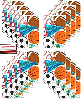 Sports Party 16 Pack Baseball Basketball Football Soccer Plastic Loot Treat Candy Favor Bags (Plus Party Planning Checklist by Mikes Super Store)
