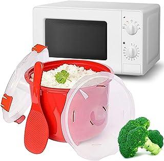 MovilCom® - Olla de Vapor para Arroz | Olla para microondas | Vaporera cocción rápida 2,6L Pollo arroz cous cous, Quinoa | Color Rojo