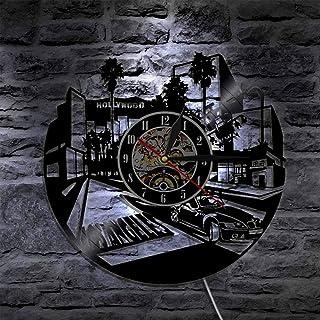 好莱坞电影中心黑胶唱片挂钟夜灯功能,壁挂艺术装饰12英寸Lp手工礼物