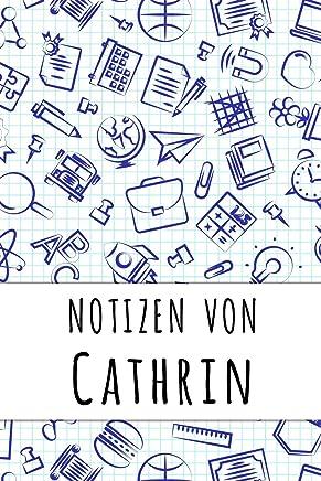 Notizen von Cathrin: Kariertes Notizbuch mit 5x5 Karomuster für deinen personalisierten Vornamen