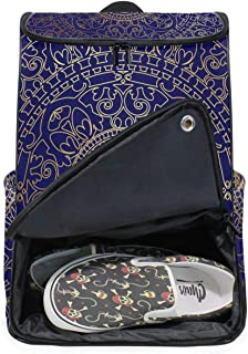 DEZIRO Mochila para ordenador portátil oriental azul y dorado hippie Mandala bolsa de viaje para mujeres y hombres universidad bolsa de negocios mochila