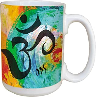 Sansaara Om Sanskrit Coffee Mug - Large 15-Ounce Ceramic Cup, Full Handle - Yoga, Spiritual, New Age, inspirational Gifts - Tree-Free Greetings 45490