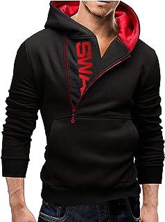 Bestgift Men's Letter Printed Hoodies Half Zipper Sweatershirts with Pocket