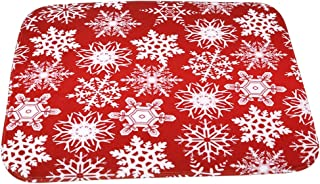 HS Crimson Snowflakes Cartoon Doormat Christmas Mats Entrance Mat Floor Mats Rug for Indoor Outdoorr Bathroom40 x 60cm