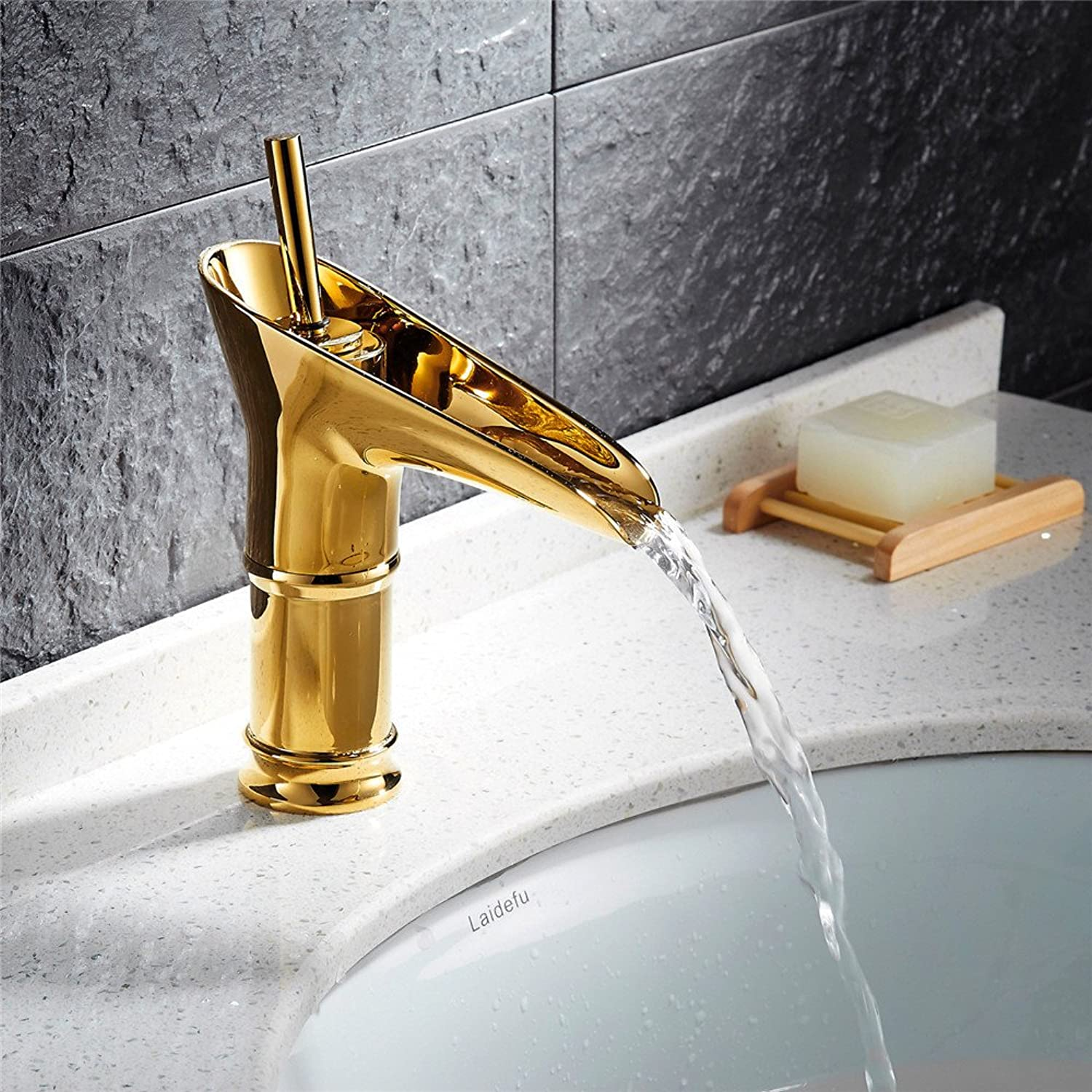 Basin faucet leading high-end platform single-round 360-degree shake-gold-plated copper basin faucet