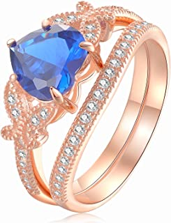 Wuziwen القلب الأزرق تشيكوسلوفاكيا خواتم الزفاف مجموعة للنساء روز الذهب مطلي 925 فضة استرليني