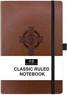RICCO BELLO A5 Classic College Ruled Banded Notebook, Pen Loop, 192 pages, 5.7 x 8.4 inches (Cross)
