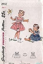 Simplicity 2912 Vintage 1940's Toddler Pinafore Dress Panties Pattern Sz1
