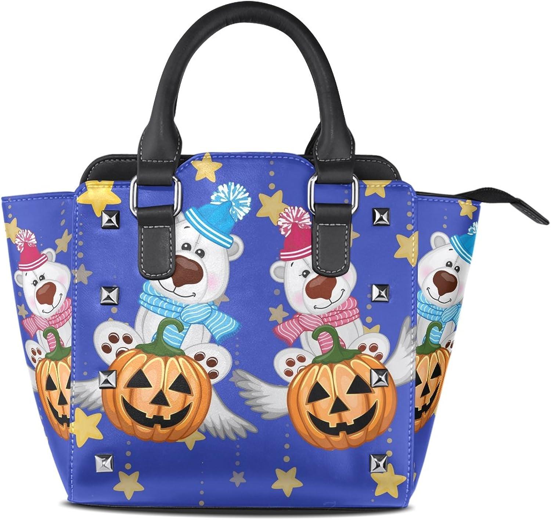 My Little Nest Women's Top Handle Satchel Handbag Cartoon Bears and Pumpkins Ladies PU Leather Shoulder Bag Crossbody Bag