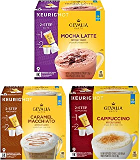 Gevalia K Cups Variety Pack of 27 Coffee Pods - Mocha Latte, Caramel Macchiato, Cappuccino - For Use in Keurig K-Cups Brewers