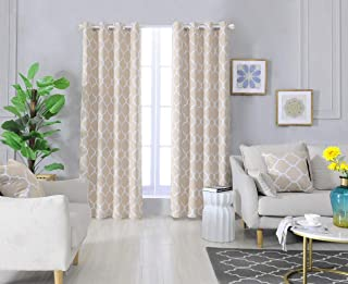 Dikarts Blackout Curtains Beige with Throw Pillow Covers 4 Pieces Set Thermal Insulated Room Darkening Window Curtain Panels with Grommets(52 W x 84 L, Beige)