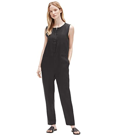 Eileen Fisher Round Neck Ankle Length Jumpsuit (Black) Women