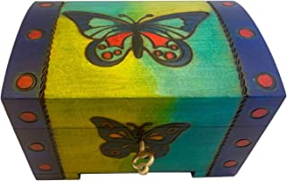 Butterfly Blue Box Polish Linden Wood Jewelry Chest w/ Lock and Key