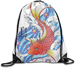 Sacred Koi Tattoos Gym Drawstring Backpack Unisex Portable Sack Bags