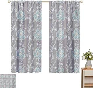 Mozenou Floral, Waterproof Window Curtain, Abstract Design Lace Background Victorian Inspired Image Vintage Soft Colors, Decorative Curtains for Living Room Grey Seafoam Tan