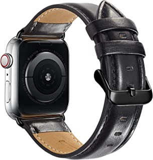 Compatible Apple Watch Band 42mm 44mm, MAPUCE Genuine Leather Bands with Stainless Metal Buckle Replacement Strap Compatible iWatch Series 5 4 3 2 1 with Black Adapter, Black, Men