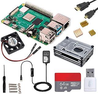 Raspberry Pi 4 4GB Starter MAX Kit - 64GB Edition/Raspberry Pi 4 ケース/Marstudy独自の低騒音ベアリングシステムファン/ヒートシンクのセット/MicroSDHCカード64GB NOOBSプリインストール/3.5A Micro USB-C電源アダプタ ON/OFFスイッチ付き/MicroHDMI-to-HDMIケーブルライン/カードリーダ/日本語取扱説明書/3年保証付