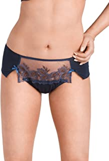 Nessa P1 Women's Miya Navy Blue Solid Colour Embroidered Knickers Panty Brief
