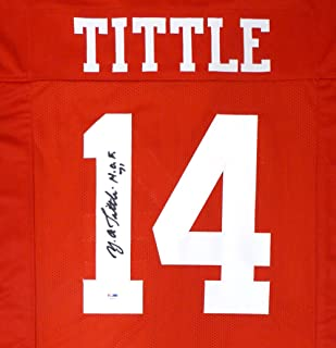 SAN FRANCISCO 49ERS Y.A. TITTLE AUTOGRAPHED RED JERSEY PSA/DNA STOCK #130021