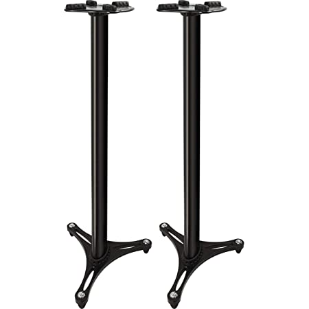 """Ultimate Support MS-90/45B MS Series Professional Column Studio Monitor Stand with Non-marring Decoupling Pads - 45""""/Black"""