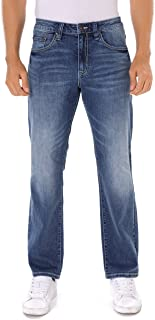 Men's Relaxed Fit Straight Leg Faded Wash Blue Denim Jeans (8019)