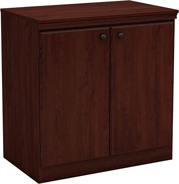 South Shore 7246722 Small 2 Door Storage Cabinet With Adjustable Shelf Royal Cherry