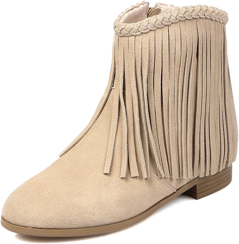 Nine Seven Nubuck Leather Women's Round Toe Chunky Heel Fringe Handmade Ankle Boot