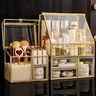 GAODAYU Boîte de Rangement Transparent Verre tiroir Maquillage boîte de Rangement Grand Bureau Finition Rack Soins de la P...