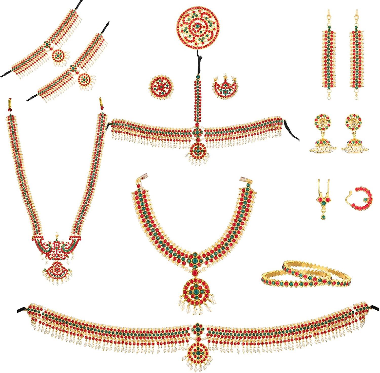 fashionAtelier Antique Stone Bharatanatyam Full Dance Set (10 items)